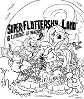 Super Fluttershy Land 2 Cover Art Lines by DocWario