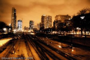 Chicago, bright night by saintvinasse