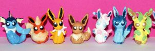 Entire Set of Eeveelution charms together by Loreleiwave