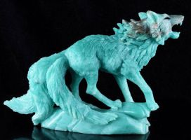 Amazonite tailed fox carving 2 by goiku