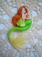 OOAK Greeen Mermaid chibi doll polymerclay by KatalinHandmade