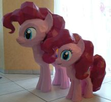 Pinkie Pie Clay Statue with her papercraft sister by Znegil