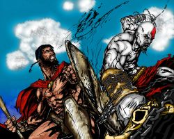 Leonidas vs Kratos by ndgnvs