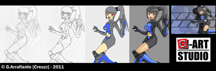 Mecha Jetter Girl _ WIP by Creuzz