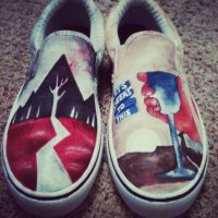 Sleeping with Sirens painted shoes by Wildl3ycrazy