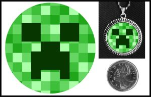 Minecraft Creeper Glass Necklace by iceSylum