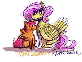 ThatScootaloo and Flutterdude by FeathersAndInk