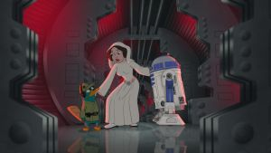 Perry, Leia, and R2-D2 by RocketSonic