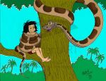 Kaa and Mowgli colored by pasta79
