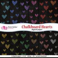 Chalkboard Hearts digital papers by PolpoDesign