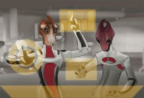 Mordin and Maelon by evilsherbear