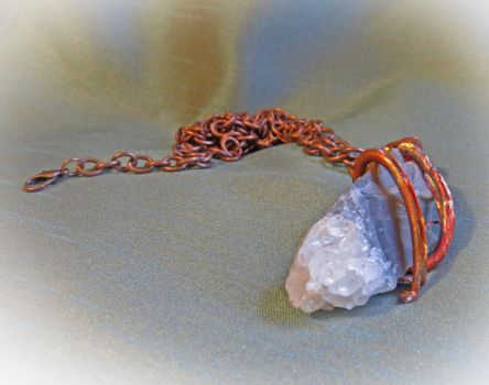 Crystal and Copper Pendant Necklace by merrypranxter