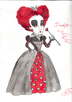 Chinese  ink  RED  QUEEN by DemonCartoonist