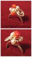 Silver Coral and Pearl Ring by WireMySoul