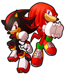 Sprite Redraw: Shadow and Knuckles by Zoiby