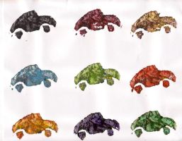 coloured potato print bugs by HoLLyp0p