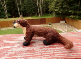 Needle Felted River Otter Soft Sculpture by DancingVulture