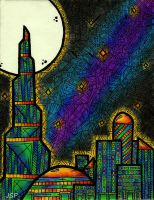 Psychedelic Cityscape by Psyconaut419