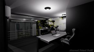 3D render of an office by damianf86