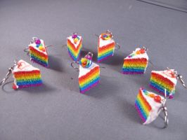 Rainbow Cake Earrings by spongekitty