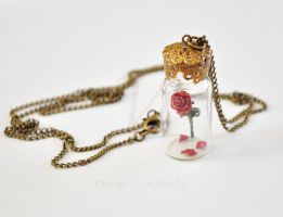 Beauty and the Beast Rose in Bottle Necklace -3 by VintageLightJewelry