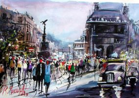 Picadilly Circus in Watercolou by ricardomassucatto
