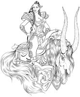 The Red Rider - Lineart by NightVendiviel