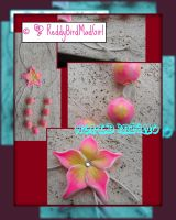 Big Fuxia/Yellow Flower: Necklace by ReddyBirdMadGirl