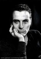 RUFUS SEWELL - portrait drawing - black and white by Shinkan-Seto