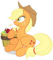 Joey-Darkmeat: Applejack Sitting Pretty by ZuTheSkunk