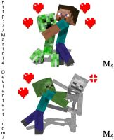 Minecraft Mob Hugs and GTFO by Marini4