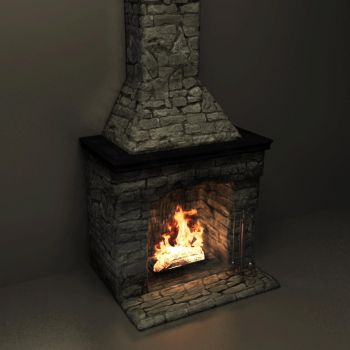 Fire in an old fireplace by BressOster
