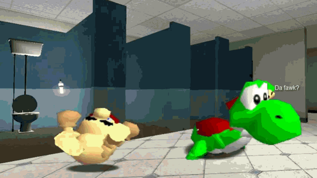 Mario and Yoshi spazz attack gif by monkeyhero0