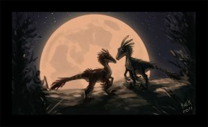 Dinosaur couple speed paint by Kaek