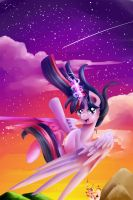 Floating Above Canterlot (just smile and wave) by Moeru789