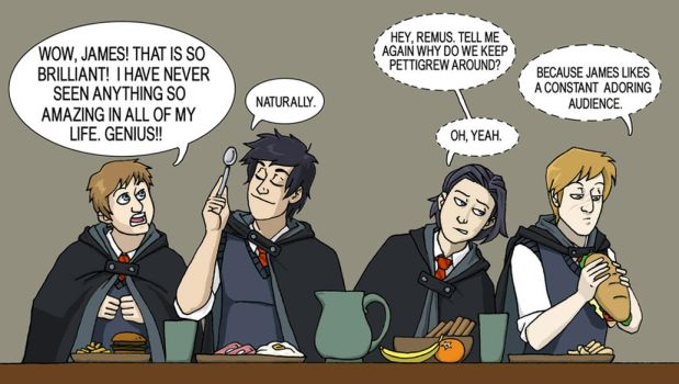 Lunchtime at Hogwarts 1975 by LamechO