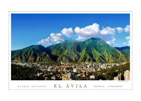 Avila montain and Caracas city skyline by aleascanio