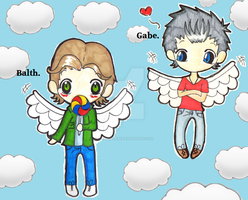 Gabriel and Balthazar hanging in heaven. by ChibiVillage