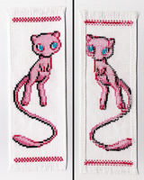 Mew cross stitch bookmark by mew-trainer-rose