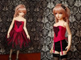 Fuschia and Black Corset and Skirt Set by kawaiimon