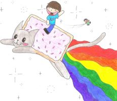 Nyan Cat Uncolored Background by kymmacaleb