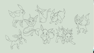 eevee evolutions lineart by hynoryuu
