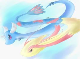 Milotic and Dragonair by FireflyThe5th