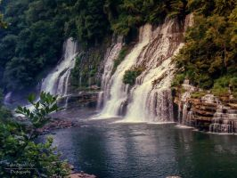 Rock Island Sunset Waterfall by SparkVillage