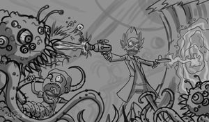 Sketch - Rick and Morty by Sawuinhaff