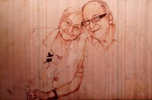 Pyrography Grandmother by AdinBeg