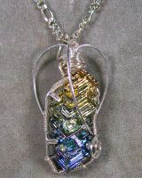 Bismuth Crystal and Silver Pendant by HeatherJordanJewelry