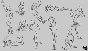 Practicing: Female poses by Baztey