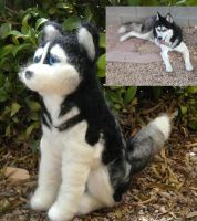 Custom ordered  needle felted Husky -babooshka by Throughawolfseyes