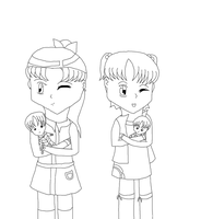 Pokemon trainers and there Plushi (coloring page) by Sailormoon003